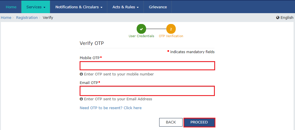 GST Mobile & email OTP